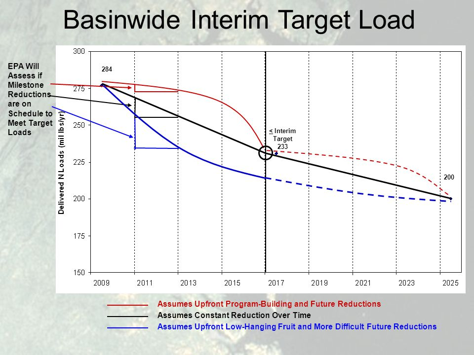 Basinwide Interim Target Load EPA Will Assess if Milestone Reductions are on Schedule to Meet Target Loads Assumes Upfront Program-Building and Future Reductions Assumes Constant Reduction Over Time Assumes Upfront Low-Hanging Fruit and More Difficult Future Reductions < Interim Target 233 284 200