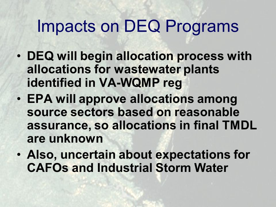 Impacts on DEQ Programs DEQ will begin allocation process with allocations for wastewater plants identified in VA-WQMP reg EPA will approve allocations among source sectors based on reasonable assurance, so allocations in final TMDL are unknown Also, uncertain about expectations for CAFOs and Industrial Storm Water
