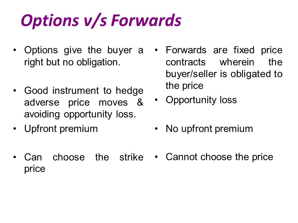 Options v/s Forwards Options give the buyer a right but no obligation.