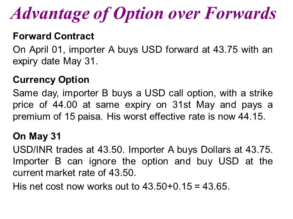 Advantage of Option over Forwards Forward Contract On April 01, importer A buys USD forward at 43.75 with an expiry date May 31.