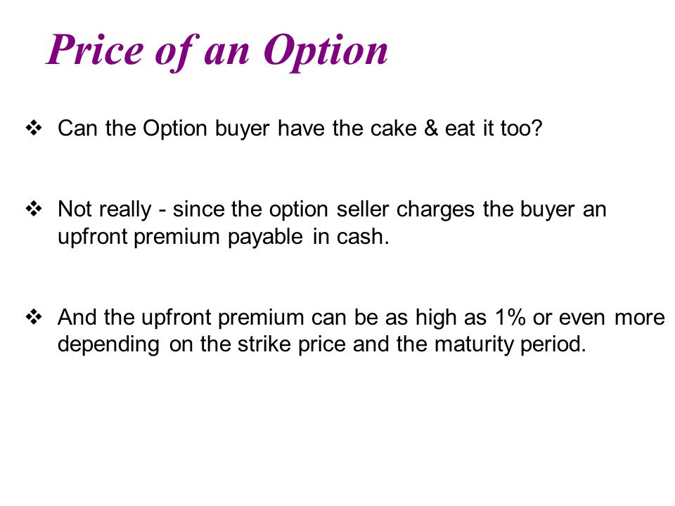 Price of an Option  Can the Option buyer have the cake & eat it too.