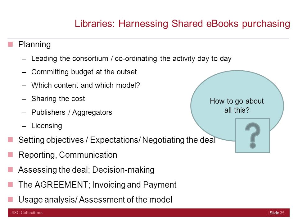 JISC Collections Libraries: Harnessing Shared eBooks purchasing Planning –Leading the consortium / co-ordinating the activity day to day –Committing budget at the outset –Which content and which model.