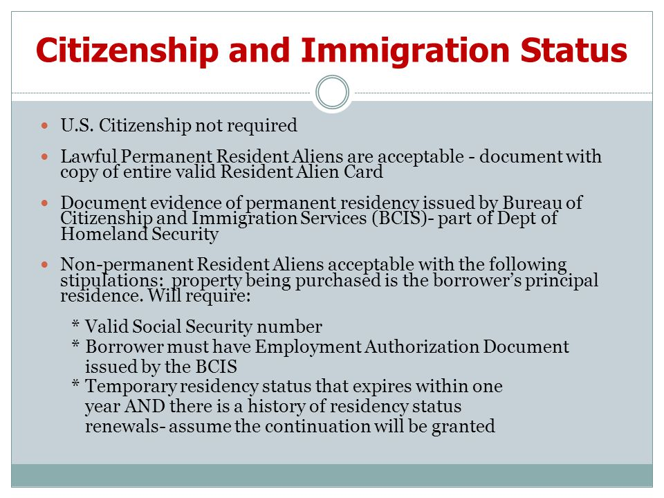 Citizenship and Immigration Status U.S.