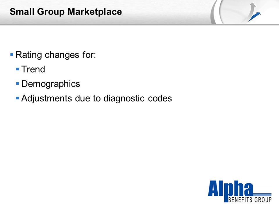 YOUR LOGO Small Group Marketplace  Rating changes for:  Trend  Demographics  Adjustments due to diagnostic codes