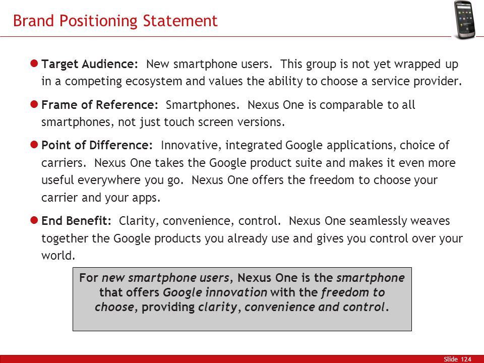 Brand Positioning Statement Slide 124 Target Audience: New smartphone users.