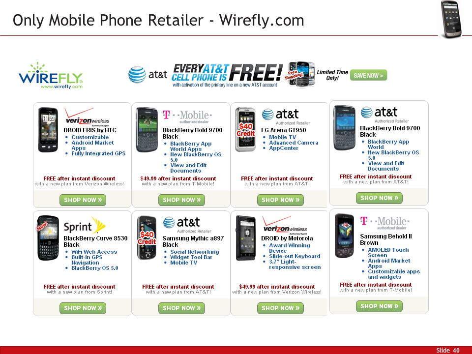 Slide 40 Only Mobile Phone Retailer - Wirefly.com