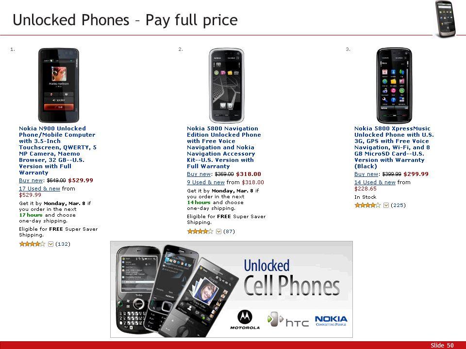 Slide 50 Unlocked Phones – Pay full price