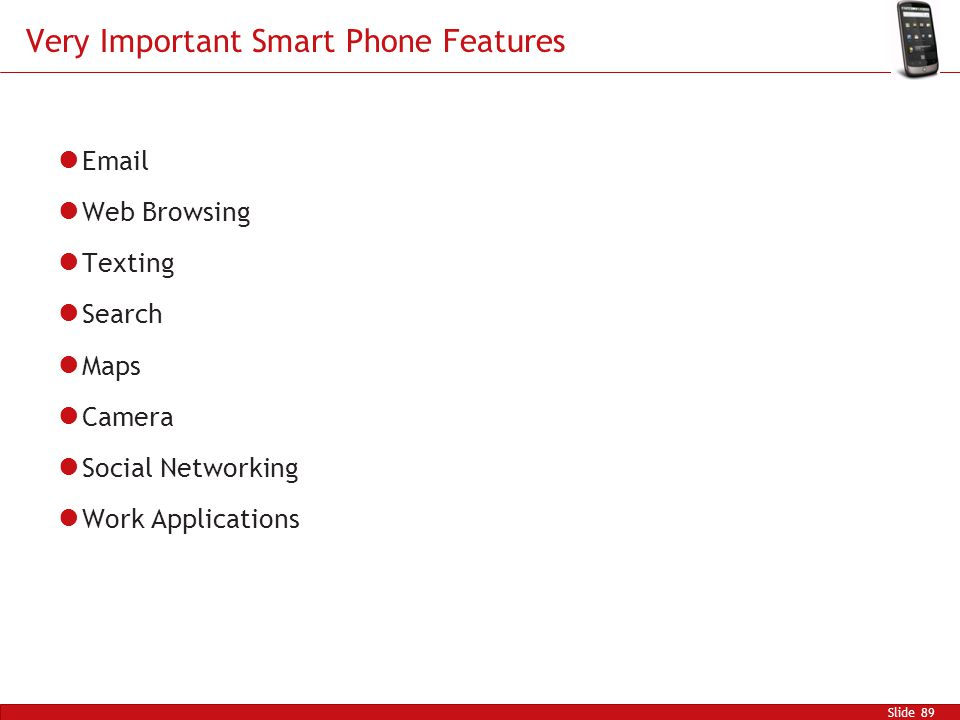 Very Important Smart Phone Features Email Web Browsing Texting Search Maps Camera Social Networking Work Applications Slide 89