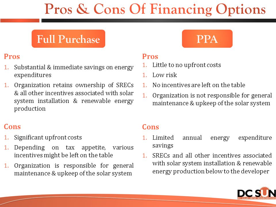 Full Purchase Pros 1.Substantial & immediate savings on energy expenditures 1.Organization retains ownership of SRECs & all other incentives associated with solar system installation & renewable energy production Cons 1.Significant upfront costs 1.Depending on tax appetite, various incentives might be left on the table 1.Organization is responsible for general maintenance & upkeep of the solar system Pros 1.Little to no upfront costs 1.Low risk 1.No incentives are left on the table 1.Organization is not responsible for general maintenance & upkeep of the solar system Cons 1.Limited annual energy expenditure savings 1.SRECs and all other incentives associated with solar system installation & renewable energy production below to the developer PPA