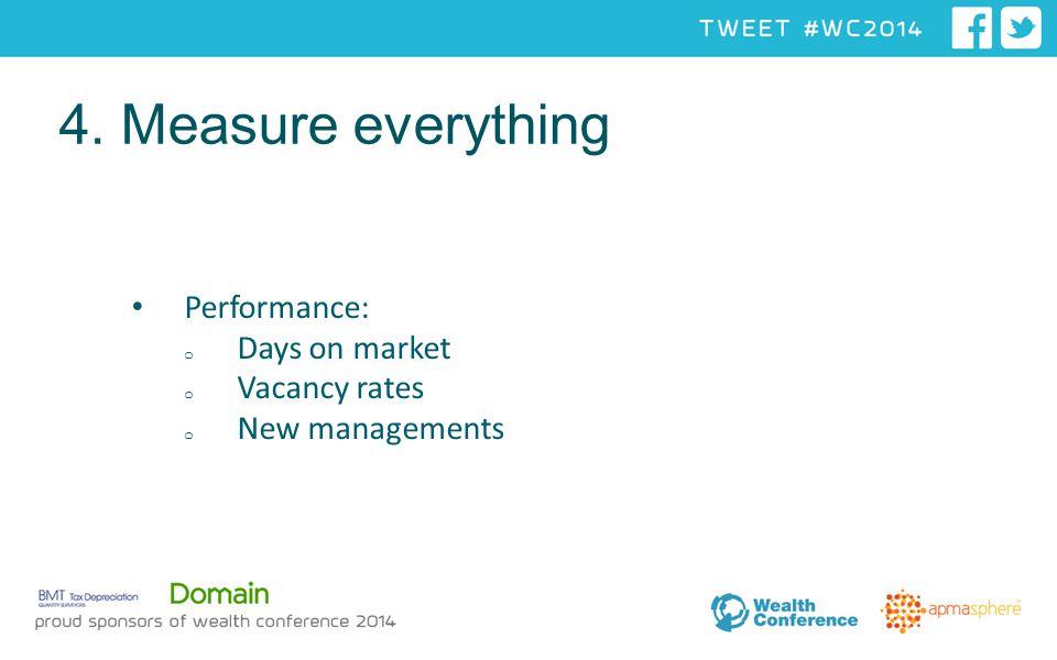 Performance: o Days on market o Vacancy rates o New managements 4. Measure everything