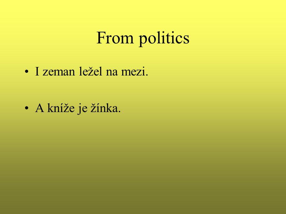 From politics I zeman ležel na mezi. A kníže je žínka.