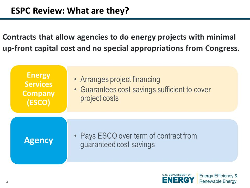 4 Contracts that allow agencies to do energy projects with minimal up-front capital cost and no special appropriations from Congress.