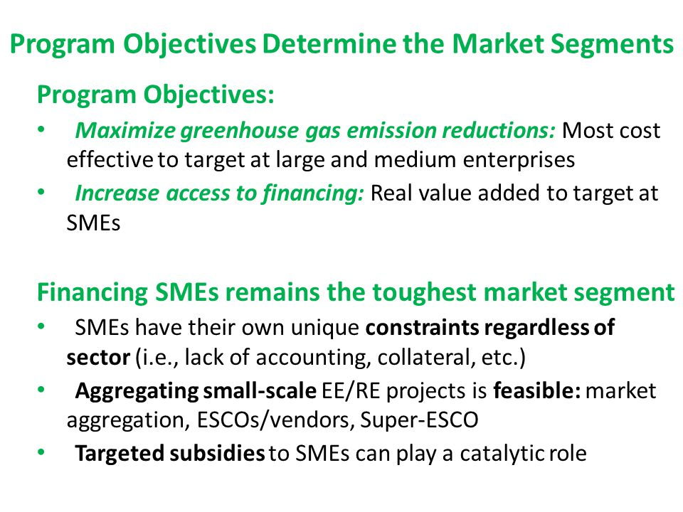 Program Objectives Determine the Market Segments Program Objectives: Maximize greenhouse gas emission reductions: Most cost effective to target at large and medium enterprises Increase access to financing: Real value added to target at SMEs Financing SMEs remains the toughest market segment SMEs have their own unique constraints regardless of sector (i.e., lack of accounting, collateral, etc.) Aggregating small-scale EE/RE projects is feasible: market aggregation, ESCOs/vendors, Super-ESCO Targeted subsidies to SMEs can play a catalytic role
