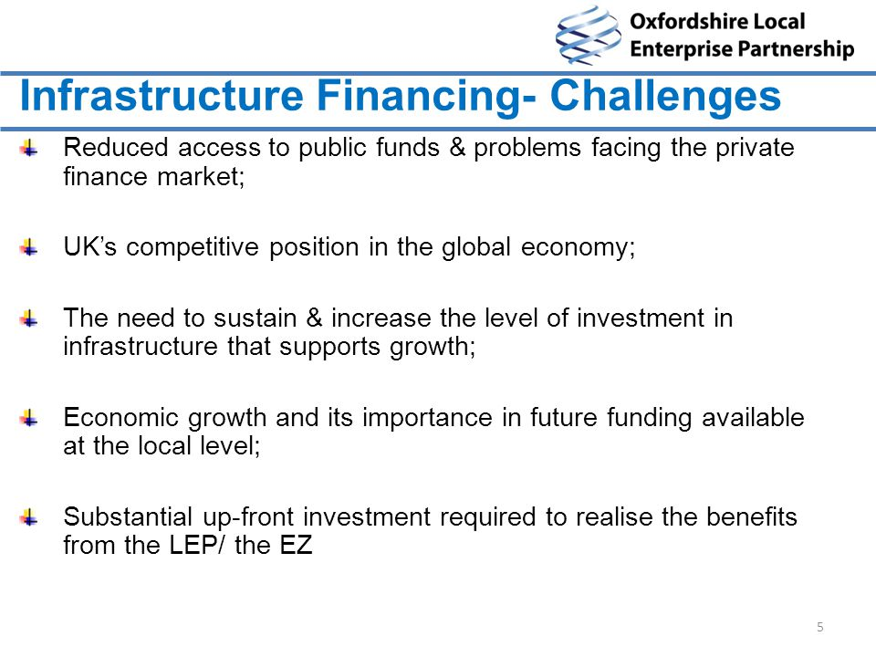 Infrastructure Financing- Challenges Reduced access to public funds & problems facing the private finance market; UK's competitive position in the global economy; The need to sustain & increase the level of investment in infrastructure that supports growth; Economic growth and its importance in future funding available at the local level; Substantial up-front investment required to realise the benefits from the LEP/ the EZ 5