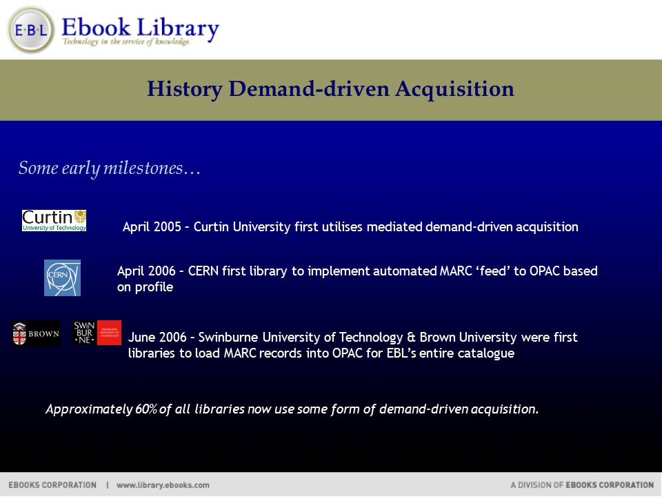 History Demand-driven Acquisition Some early milestones… June 2006 – Swinburne University of Technology & Brown University were first libraries to load MARC records into OPAC for EBL's entire catalogue April 2006 – CERN first library to implement automated MARC 'feed' to OPAC based on profile April 2005 – Curtin University first utilises mediated demand-driven acquisition Approximately 60% of all libraries now use some form of demand-driven acquisition.
