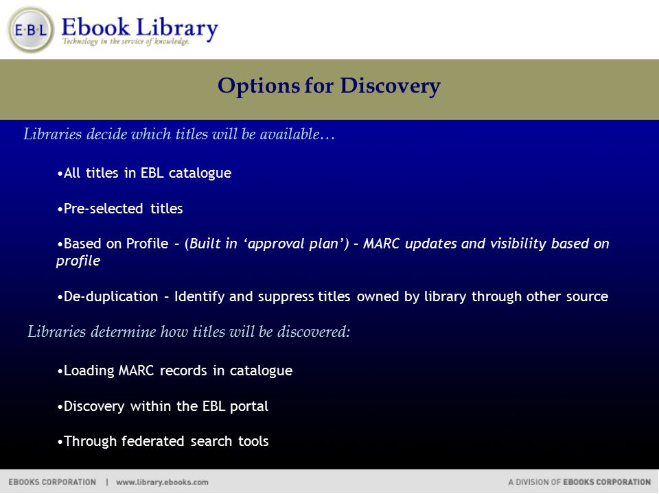 Options for Discovery Libraries decide which titles will be available… All titles in EBL catalogue Pre-selected titles Based on Profile – (Built in 'approval plan') – MARC updates and visibility based on profile De-duplication – Identify and suppress titles owned by library through other source Libraries determine how titles will be discovered: Loading MARC records in catalogue Discovery within the EBL portal Through federated search tools