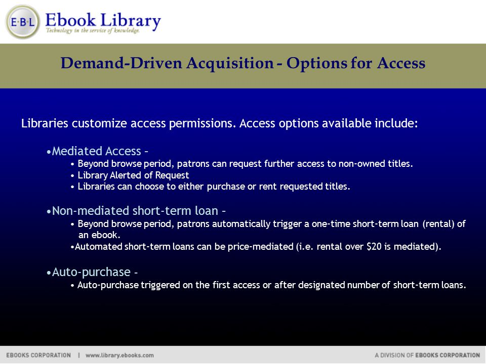 Demand-Driven Acquisition - Options for Access Libraries customize access permissions. Access options available include: Mediated Access – Beyond brow