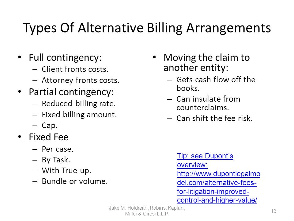 Types Of Alternative Billing Arrangements Full contingency: – Client fronts costs.