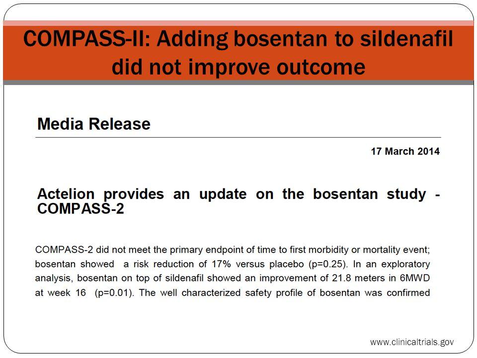 COMPASS-II: Adding bosentan to sildenafil did not improve outcome www.clinicaltrials.gov