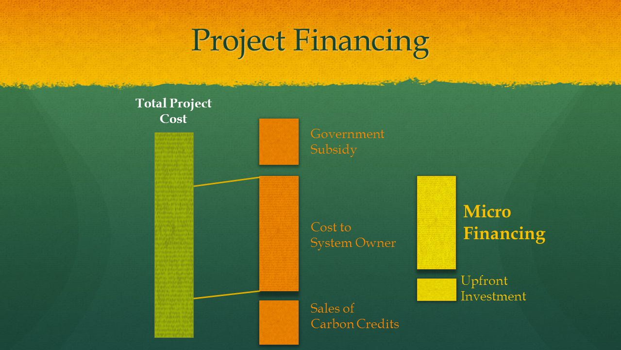 Project Financing Government Subsidy Sales of Carbon Credits Cost to System Owner Micro Financing Upfront Investment Total Project Cost
