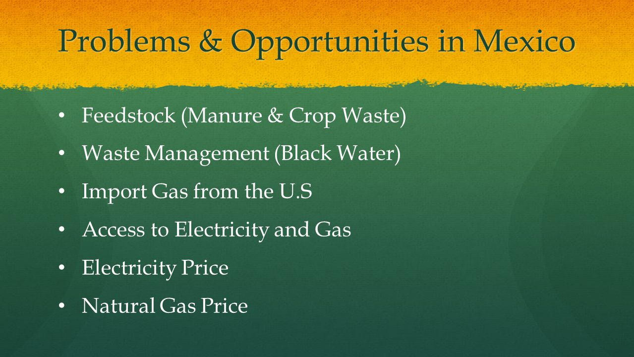 Problems & Opportunities in Mexico Feedstock (Manure & Crop Waste) Waste Management (Black Water) Import Gas from the U.S Access to Electricity and Ga