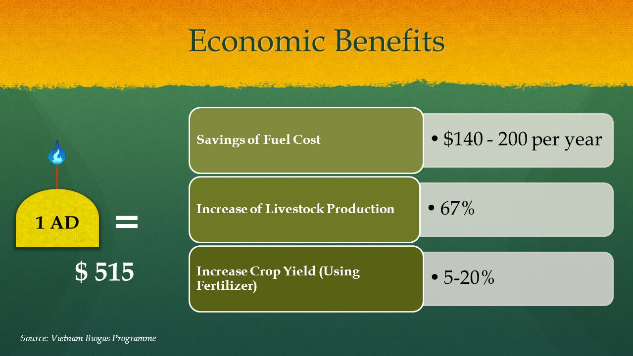 Economic Benefits Source: Vietnam Biogas Programme $140 - 200 per year Savings of Fuel Cost 67% Increase of Livestock Production 5-20% Increase Crop Y