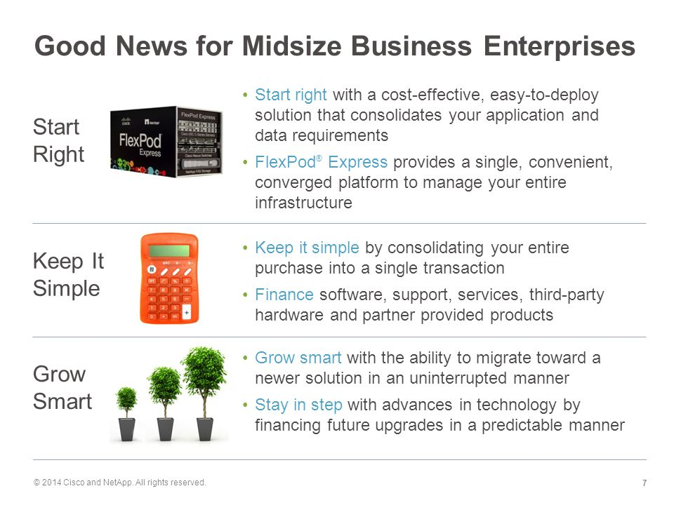 Good News for Midsize Business Enterprises Start right with a cost-effective, easy-to-deploy solution that consolidates your application and data requirements FlexPod ® Express provides a single, convenient, converged platform to manage your entire infrastructure Start Right Keep It Simple Keep it simple by consolidating your entire purchase into a single transaction Finance software, support, services, third-party hardware and partner provided products Grow Smart Grow smart with the ability to migrate toward a newer solution in an uninterrupted manner Stay in step with advances in technology by financing future upgrades in a predictable manner © 2014 Cisco and NetApp.