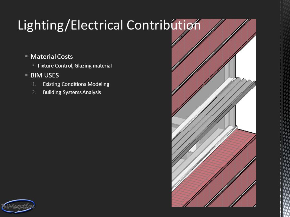 Lighting/Electrical Contribution  Material Costs  Fixture Control, Glazing material  BIM USES 1.Existing Conditions Modeling 2.Building Systems Analysis