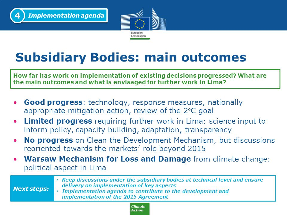Climate Action Subsidiary Bodies: main outcomes Good progress: technology, response measures, nationally appropriate mitigation action, review of the