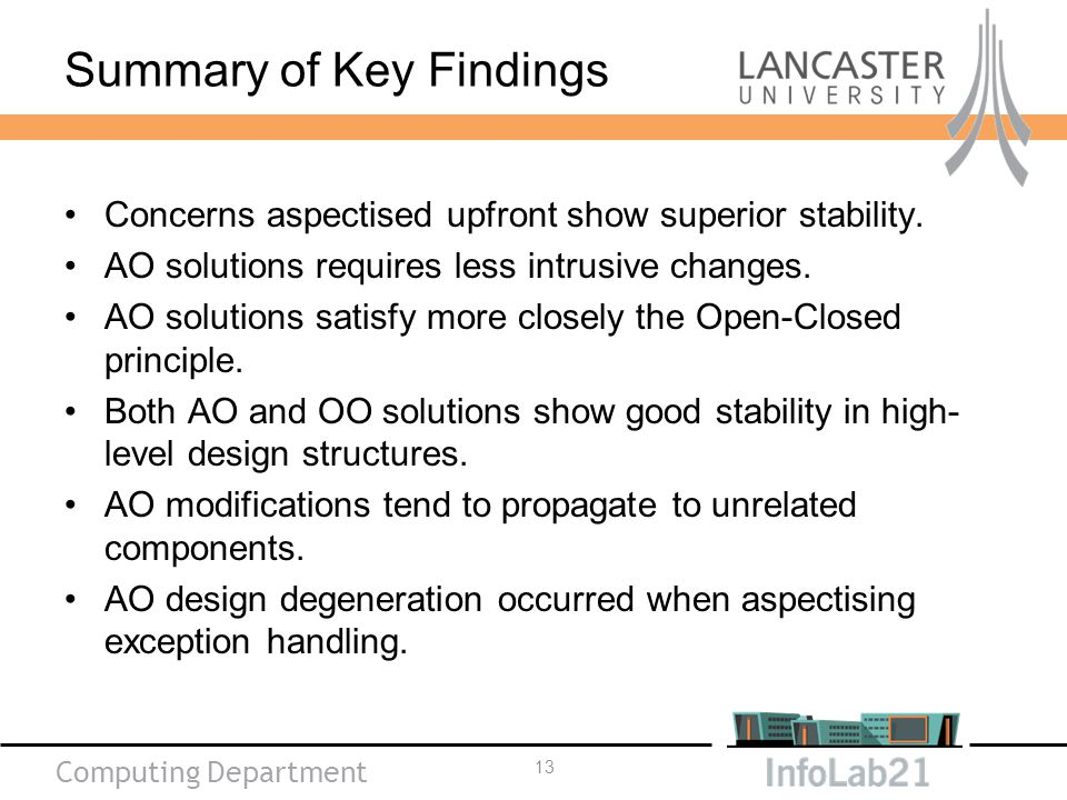 Computing Department Summary of Key Findings Concerns aspectised upfront show superior stability.