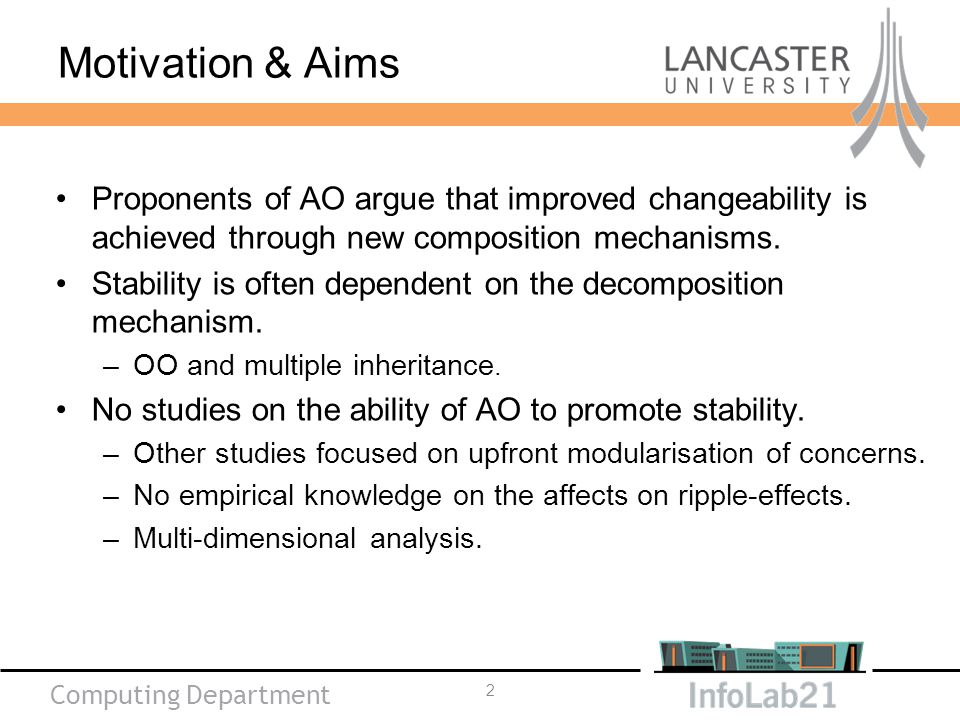 Computing Department Motivation & Aims Proponents of AO argue that improved changeability is achieved through new composition mechanisms.