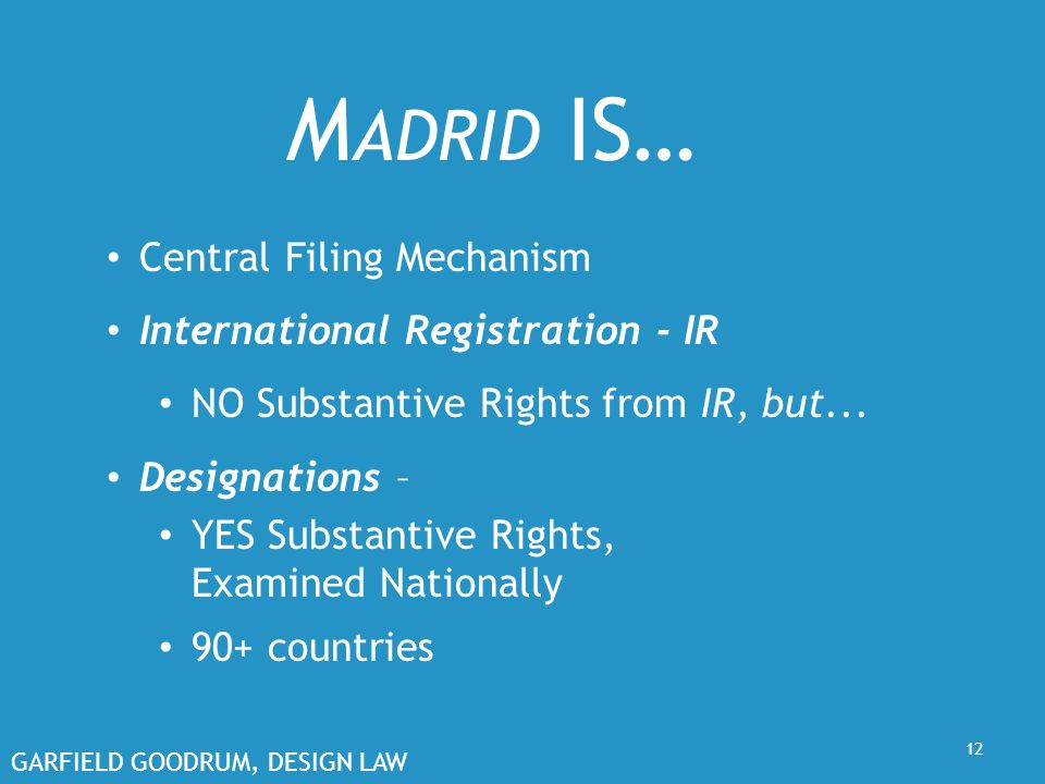 GARFIELD GOODRUM, DESIGN LAW 12 M ADRID IS… Central Filing Mechanism International Registration - IR NO Substantive Rights from IR, but...