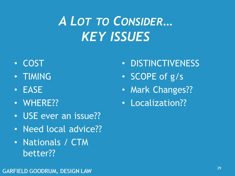 GARFIELD GOODRUM, DESIGN LAW A L OT TO C ONSIDER … KEY ISSUES COST TIMING EASE WHERE?.