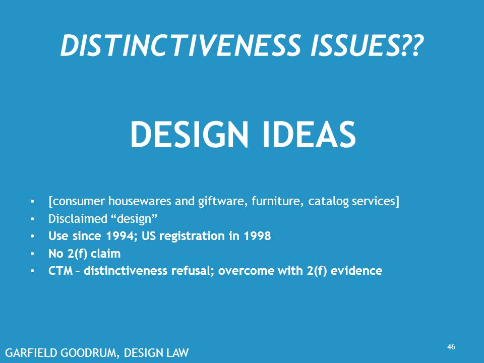 GARFIELD GOODRUM, DESIGN LAW DISTINCTIVENESS ISSUES?.