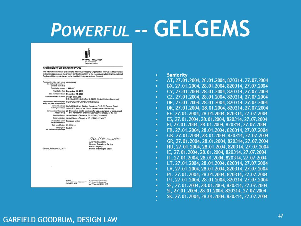 GARFIELD GOODRUM, DESIGN LAW P OWERFUL -- GELGEMS Seniority AT, 27.01.2004, 28.01.2004, 820314, 27.07.2004 BX, 27.01.2004, 28.01.2004, 820314, 27.07.2004 CY, 27.01.2004, 28.01.2004, 820314, 27.07.2004 CZ, 27.01.2004, 28.01.2004, 820314, 27.07.2004 DE, 27.01.2004, 28.01.2004, 820314, 27.07.2004 DK, 27.01.2004, 28.01.2004, 820314, 27.07.2004 EE, 27.01.2004, 28.01.2004, 820314, 27.07.2004 ES, 27.01.2004, 28.01.2004, 820314, 27.07.2004 FI, 27.01.2004, 28.01.2004, 820314, 27.07.2004 FR, 27.01.2004, 28.01.2004, 820314, 27.07.2004 GB, 27.01.2004, 28.01.2004, 820314, 27.07.2004 GR, 27.01.2004, 28.01.2004, 820314, 27.07.2004 HU, 27.01.2004, 28.01.2004, 820314, 27.07.2004 IE, 27.01.2004, 28.01.2004, 820314, 27.07.2004 IT, 27.01.2004, 28.01.2004, 820314, 27.07.2004 LT, 27.01.2004, 28.01.2004, 820314, 27.07.2004 LV, 27.01.2004, 28.01.2004, 820314, 27.07.2004 PL, 27.01.2004, 28.01.2004, 820314, 27.07.2004 PT, 27.01.2004, 28.01.2004, 820314, 27.07.2004 SE, 27.01.2004, 28.01.2004, 820314, 27.07.2004 SI, 27.01.2004, 28.01.2004, 820314, 27.07.2004 SK, 27.01.2004, 28.01.2004, 820314, 27.07.2004 47
