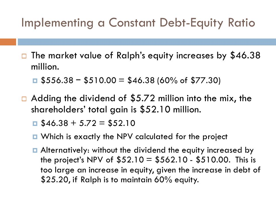 Implementing a Constant Debt-Equity Ratio  The market value of Ralph's equity increases by $46.38 million.  $556.38 − $510.00 = $46.38 (60% of $77.3
