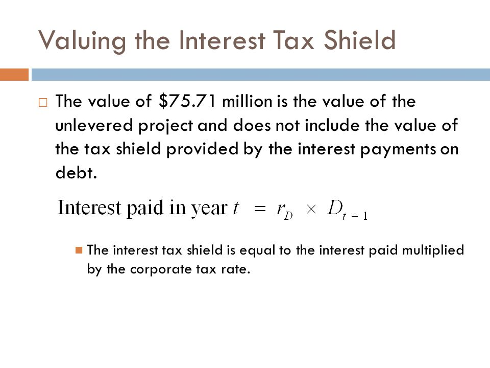 Valuing the Interest Tax Shield  The value of $75.71 million is the value of the unlevered project and does not include the value of the tax shield p