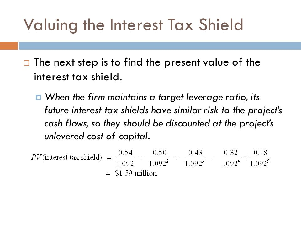 Valuing the Interest Tax Shield  The next step is to find the present value of the interest tax shield.