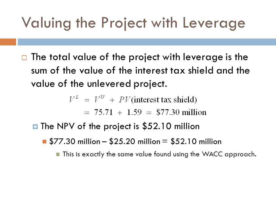 Valuing the Project with Leverage  The total value of the project with leverage is the sum of the value of the interest tax shield and the value of t