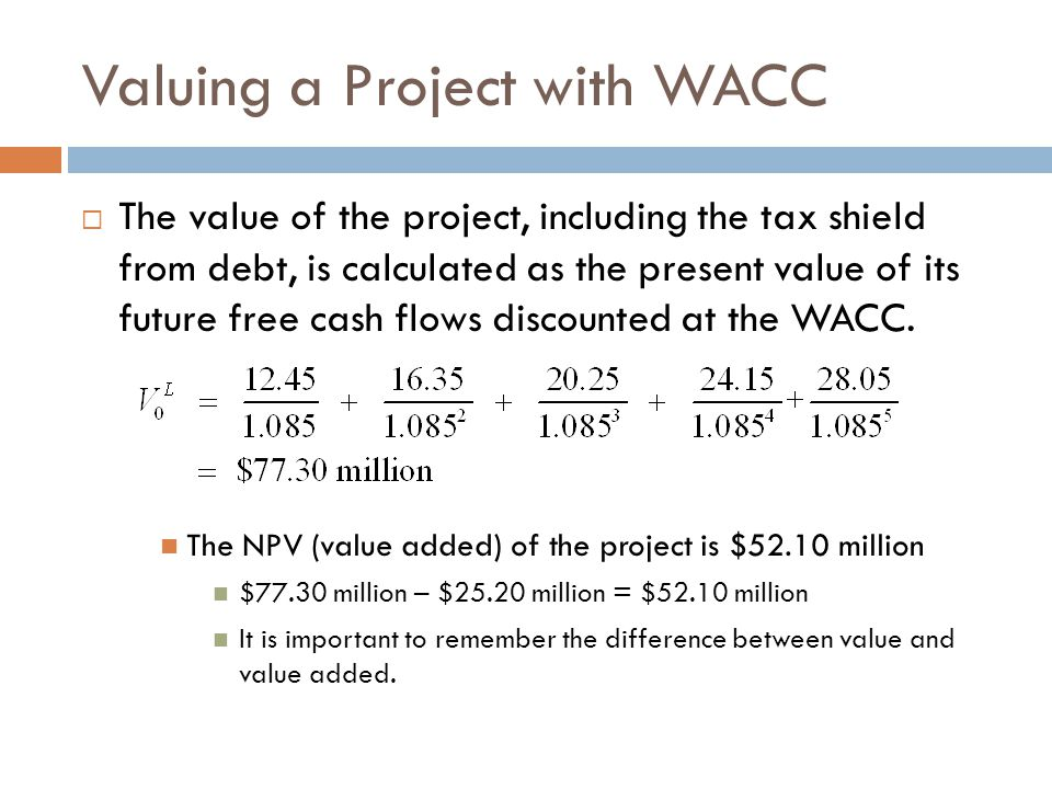 Summary of the WACC Method 1.Determine the free cash flow of the investment.