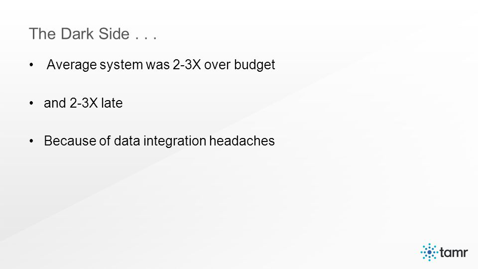 Average system was 2-3X over budget and 2-3X late Because of data integration headaches The Dark Side...