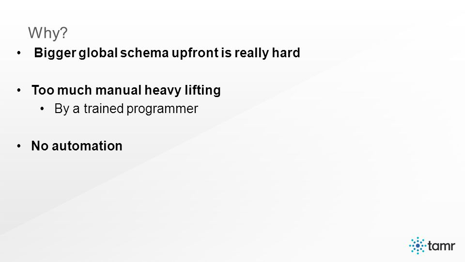 Bigger global schema upfront is really hard Too much manual heavy lifting By a trained programmer No automation Why