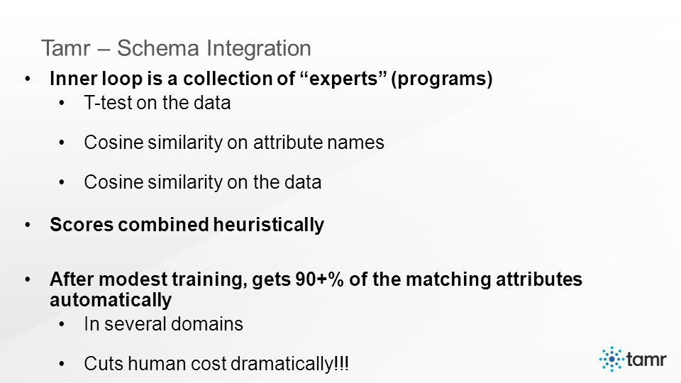Inner loop is a collection of experts (programs) T-test on the data Cosine similarity on attribute names Cosine similarity on the data Scores combined heuristically After modest training, gets 90+% of the matching attributes automatically In several domains Cuts human cost dramatically!!!
