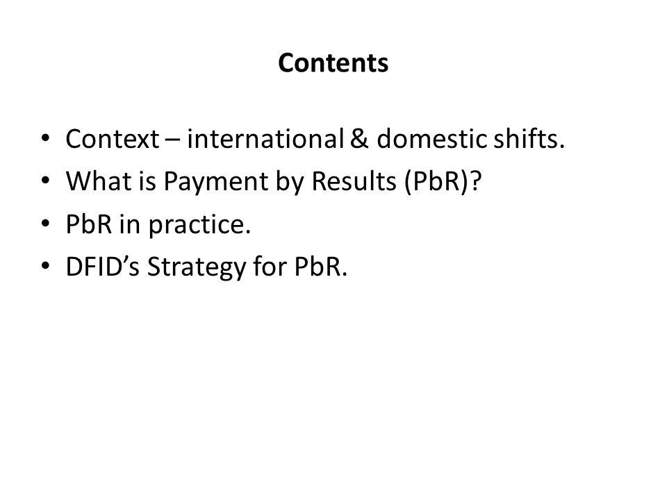 Contents Context – international & domestic shifts.