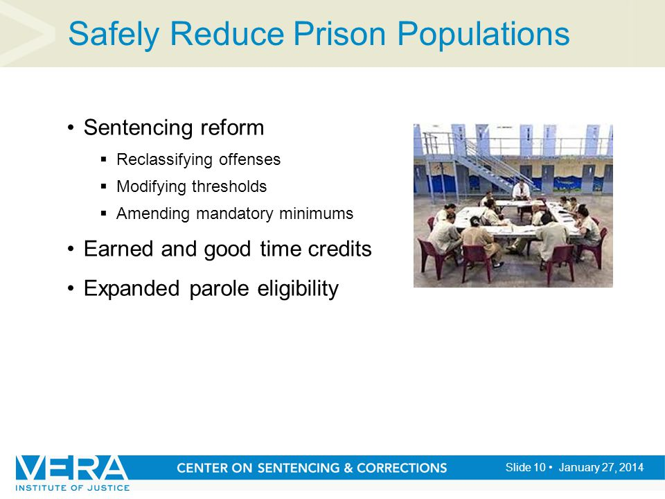 Slide 10 January 27, 2014 Safely Reduce Prison Populations Sentencing reform  Reclassifying offenses  Modifying thresholds  Amending mandatory minimums Earned and good time credits Expanded parole eligibility