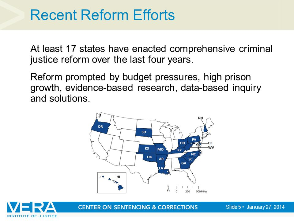 Slide 5 January 27, 2014 Recent Reform Efforts At least 17 states have enacted comprehensive criminal justice reform over the last four years. Reform