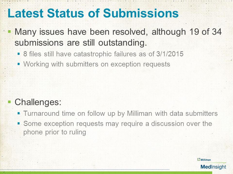 Latest Status of Submissions  Many issues have been resolved, although 19 of 34 submissions are still outstanding.