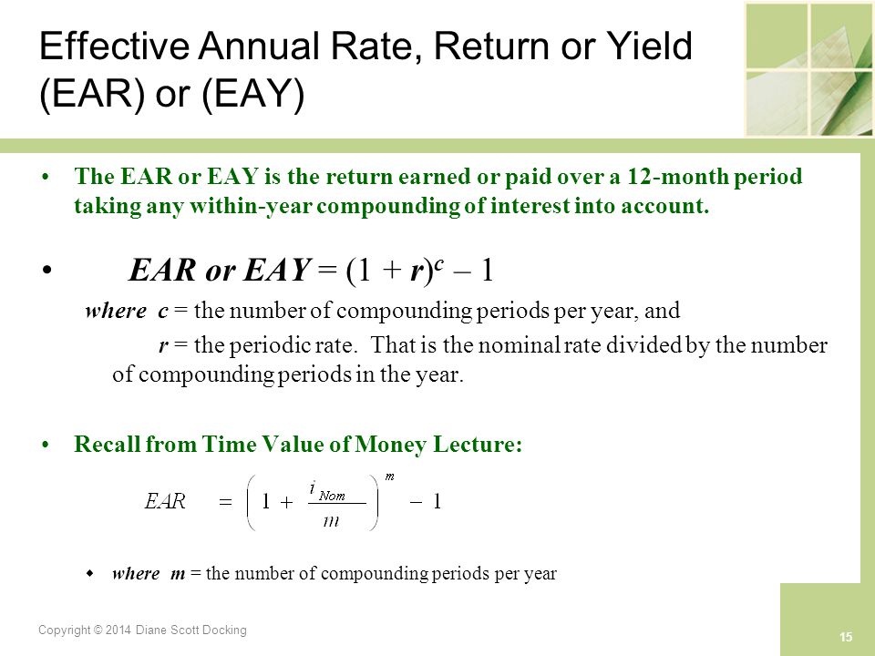 Copyright © 2014 Diane Scott Docking 15 Effective Annual Rate, Return or Yield (EAR) or (EAY) The EAR or EAY is the return earned or paid over a 12-month period taking any within-year compounding of interest into account.