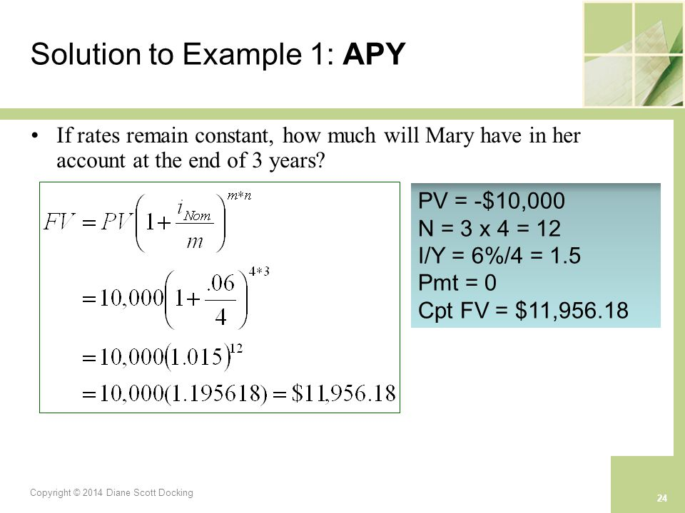 Copyright © 2014 Diane Scott Docking 24 Solution to Example 1: APY If rates remain constant, how much will Mary have in her account at the end of 3 years.