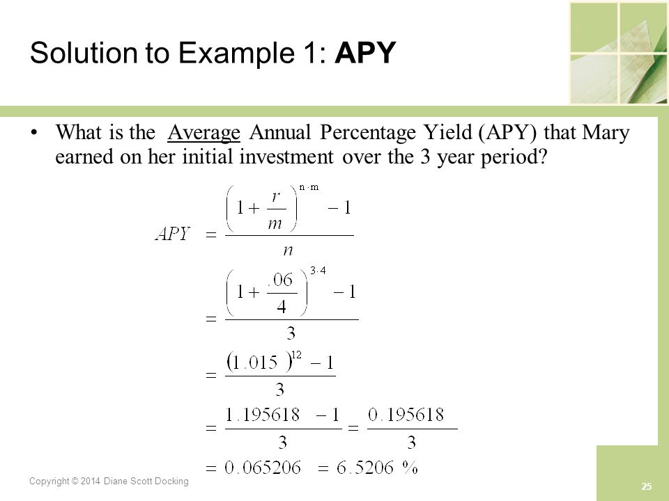 Copyright © 2014 Diane Scott Docking 25 Solution to Example 1: APY What is the Average Annual Percentage Yield (APY) that Mary earned on her initial investment over the 3 year period